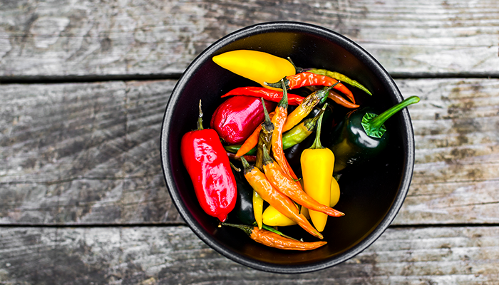 Various peppers in bowl